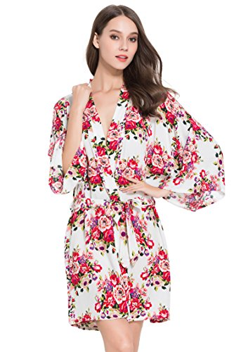 Floral Cotton Robe, Bridesmaid, Bride, Wedding by Modern Celebrations (White)