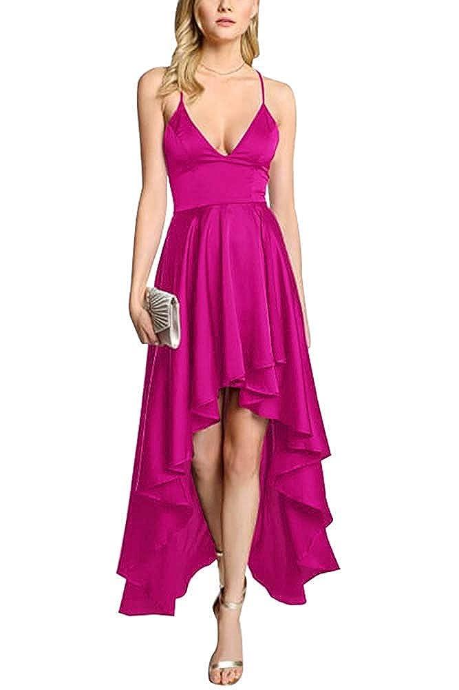 Fuchsia ZLQQ Women's Spaghetti Strap Prom Dresses HiLo VNeck Bridesmaid Dress Short Formal Evening Gown