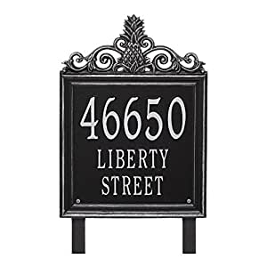 "Custom Lanai Pineapple Estate LAWN Address Plaque 19""H (3 Lines) (Black/Silver)"
