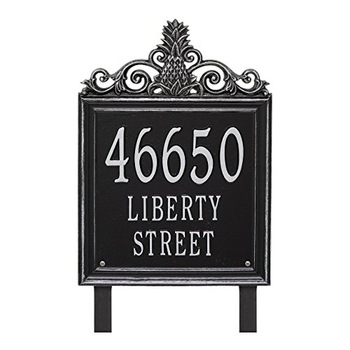 "Custom Lanai Pineapple Estate LAWN Address Plaque 19""H (3 Lines) (Black/Silver) (Pineapple Whitehall)"