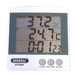 General Tools DTH04 Digital Jumbo Display Temperature and Humidity Monitor with Clock