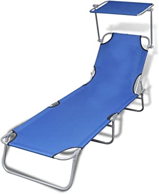 Neolifu Outdoor Sunlounger Foldable with Canopy Patio Lounge Chair (Stock US) (Blue)