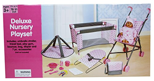 Lissi 5 Piece Doll Deluxe Nursery Play Set with 8 Accessories Role Toy ()