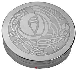 Round Pewter Trinket Box with Mackintosh Glasgow Rose Bud Design on Lid - 90mm diameter