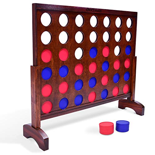 Four Jumbo (GoSports Giant Wooden 4 in a Row Game | Choose Between Classic White or Dark Stain | 3 Foot Width - Jumbo 4 Connect Family Fun with Coins, Case and Rules)