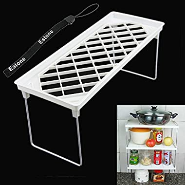 Estone® Mini Fold Kitchen Bath Rectangle Corner Shelf Sundries Storage Rack Storage (14CM X 35CM/5.46'' x 13.65'')