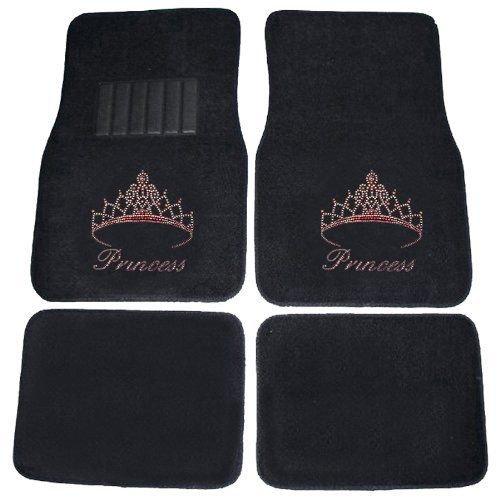 (CarsCover Pink Princess Crown Crystal Diamond Bling Rhinestone Studded Carpet Car SUV Truck Floor Mats 4 PCS)