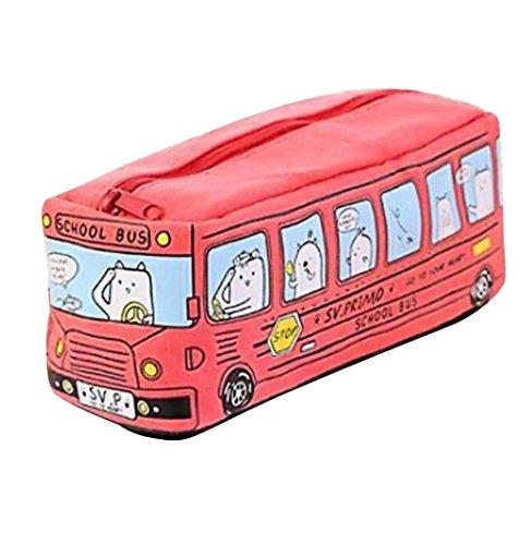 Box School Womens (Pencil Case,Sagton School Bus Design Students Big Capacity Stationery Pen Bag Cosmetic Makeup Bag (Red))