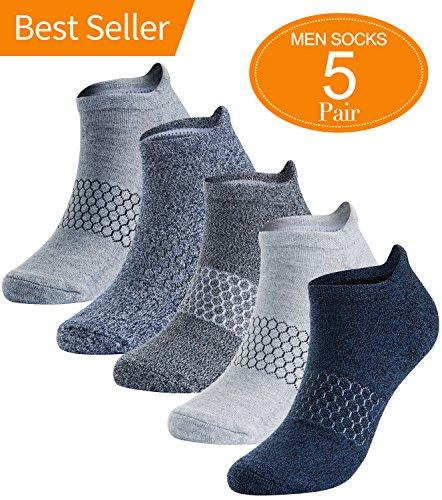 Mens Athletic Running Socks Low Cut No Show Sport Sock 5 Pack