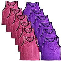 BlueDot Trading Bundle of 6 Pink & 6 Purple Adult Team Sports Scrimmage Vests Pinnies (12 Total)