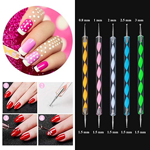 SPTHTHHPY Acrylic Nail Kit, Nail Art Set Acrylic Brush Glitter Clipper Dotting Pen File French Tips Nail Art Decoration Tools Professional Manicure Set