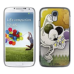 Paccase / SLIM PC / Aliminium Casa Carcasa Funda Case Cover - Children'S Drawing Ears Black Art Pastel - Samsung Galaxy S4 I9500