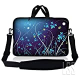 """LSS Neoprene Laptop Tablet Sleeve Case w/ Handle & Adjustable Shoulder Strap Fits Apple Ipad 1 Ipad 2 Ipad 3/Kindle Fire / Samsung Galaxy Tablet / Asus Eee Pad / Acer Iconia Tab /Acer Aspire one/Dell inspiron mini/Samsung N145/Toshiba/Kindle DX/Lenovo S205/HP Touchpad Mini 210 8"""" 8.9"""" 9"""" 10"""" 10.2"""" Netbook, Blue Swirl Mid Summer Night Floral"""