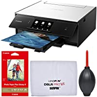 Canon PIXMA TS9020 Wireless Color Inkjet All-In-One Printer / Copier / Scanner (White) with Canon 4x6 Glossy Paper (100 Sheets) + Kit