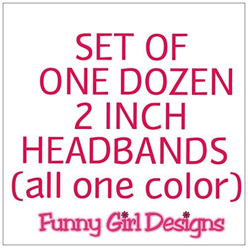 1 DOZEN 2 Inch Wide Cotton Stretch Headbands OFFICIAL FUNNY GIRL DESIGNS HEADBANDS (Official Funny Girl Maroon) by Funny Girl Designs (Image #5)