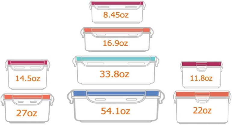 8pcs Food Storage Containers with Lids @ Airtight Leak Proof Easy Snap Lock and BPA-Free Plastic Container Set @ Plastic Food Containers with Lids @ Plastic Containers with Lids(Green)