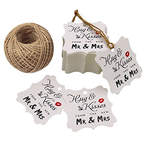 Description Kiss - Wedding Favor Gift Tags,100 Pcs Square Hug & Kisses from the New Mr & Mrs Gift Tags for Bridal Shower Anniversary with 100 Feet Jute Twine