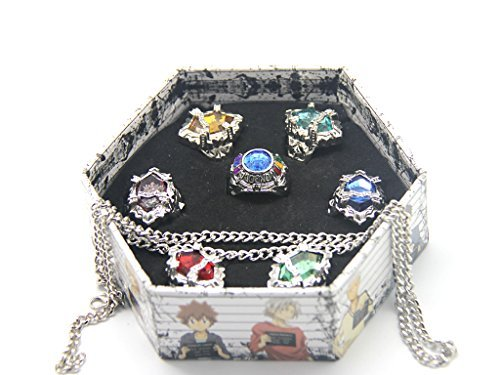 WS_COS Japanese Katekyo Hitman Reborn! Cosplay Accessory Set of 7 Vongola Family Rings with Necklace 3rd Version by Wing Seng