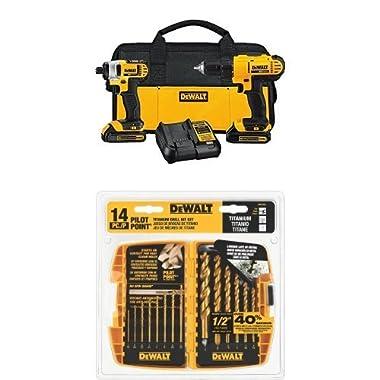 DEWALT DCK240C2 20v Lithium Drill Driver/Impact Combo Kit (1.5Ah) w/ DW1354 14-Piece Titanium Drill Bit Set