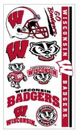 Samorthatrade Wisconsin Badgers Temporary Tattoos Easily Removed with Household Rubbing Alcohol Or Baby Oil