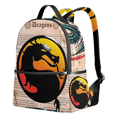 Reptile Mortal Kombat Costumes (Dragon Print 2 Unisex Rucksack Canvas Satchel Casual Daypack ,School College Student Backpack)
