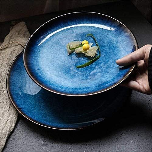 Size : 8inch XXJ-Bols Cuisine japonaise Style Steaks en c/éramique peints /à la main Assiette de p/âtes Bol Soupe Ramen Bol de nouilles Bol de salades Western Dish Blue