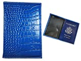 Blue Leather Embossed Us Passport Cover Organizer Card Case Travel Wallet Holder