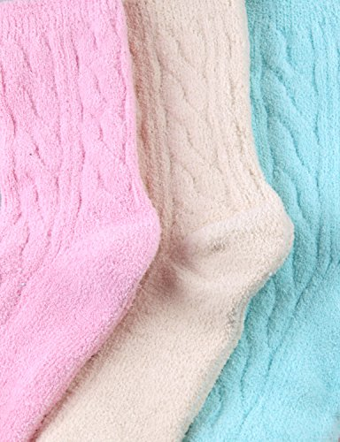 HASLRA Twist Premium Soft Warm Fine-Needle Microfiber Fuzzy Socks 3 Pairs (MIX1) by HASLRA (Image #5)