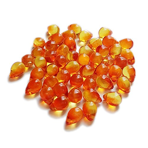 50 Fire Opal Czech Glass Pressed Drop (5x7mm) Beads. Orange Side Drill Tear Drop Bead for Kumihimo Braiding & Jewelry Making