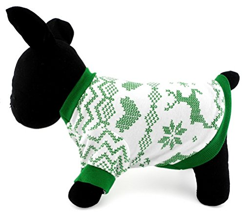 Zunea 100% Cotton Summer T-Shirt for Small Dogs Soft Breathable Reindeer Sweatshirts Halloween Xmas Costume Apparel Green L -