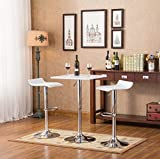 Roundhill Furniture Baxton White SQUARE Top Adjustable Height Wood & Chrome Metal bar Table & 2 Chrome Air Lift Adjustable Swivel Stools Set