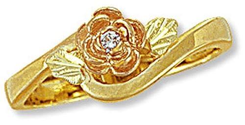 Landstroms Ladies 10k Black Hills Gold Rose Diamond Ring with Leaves – G L02247X