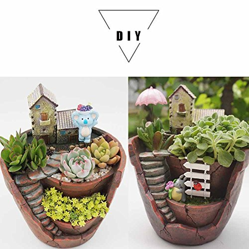 Plant Pot, Hgrope Mini Size Creative Fairy Garden Plant Containers, Hanging Garden Design with Sweet House for Flowers and Plants by Hgrope (Image #5)