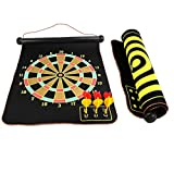 BlingKingdom - 15'' Safety Dart Board Game Roll up Two Sided Reversible Bullseye Target Magnetic Dartboard With 6 Darts for Kids (45cm x 38cm)