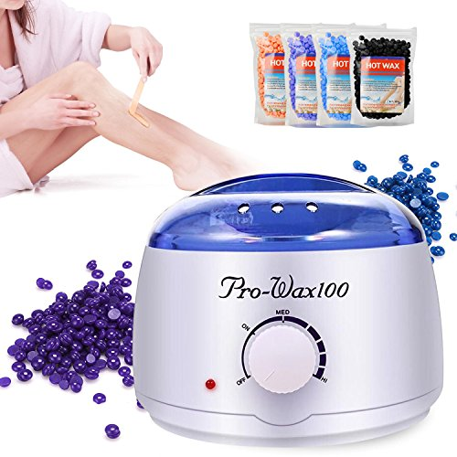 Silky-skin Wax Warmer, Yevita Hair Removal Waxing Kit Electric Brazilian Wax Melter Pot, Painless Home Waxing Spa Wax Melts Tool for Body with 4 Flavors Hard Wax Beans and 10 Applicators
