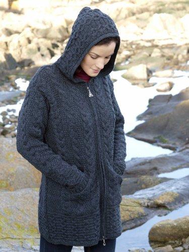 100% Irish Merino Wool Ladies Hooded Aran Zip Coat Charcoal M