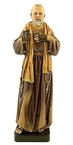 Milagros Patron Saint Padre Pio Pius Resin Statue Figurine, 7 7/8 Inch