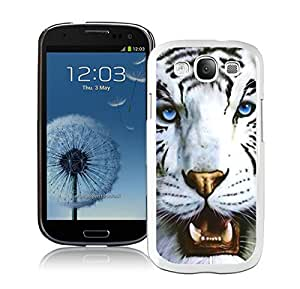 Stylish Samsung Galaxy S3 Case Durable Soft Silicone TPU White Tiger and Blue Eyes Cool Animal Designs White Cell Phone Protective Cover by runtopwell
