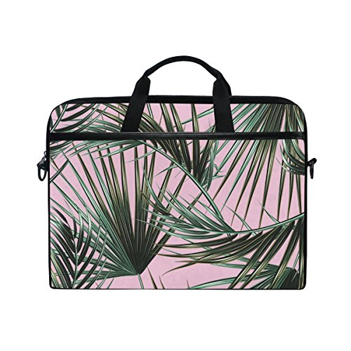 AHOMY Tropic Palm Leaf 15 Inch Canvas Laptop Shoulder Sleeve Messenger Bag Case With Handle, 14 to 15 Inch Notebook / Tablet Briefcase