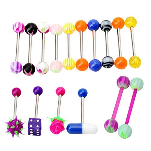 FunnyDay 16Pcs Assorted Colorful Tongue Nipple Bar Ring Barbell (Koosh Barbell)
