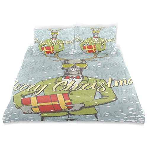 Amanda Billy Christmas Sweatshirt Old Man Bedding 3 Piece Set Bedding Set Full Set 66 × 90 in Bed Cover, 2 Pillowcase Pattern Soft Microfiber Bed Cover Set Children's Gift -