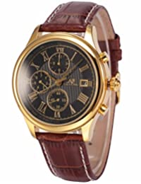 KS Men's Gold Case 6 Hands Date Day Month Automatic Mechanical Brown Leather Watch KS149