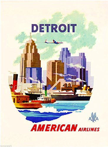 MAGNET 1950s Detroit Michigan United States of America Travel Advertisement Art ()