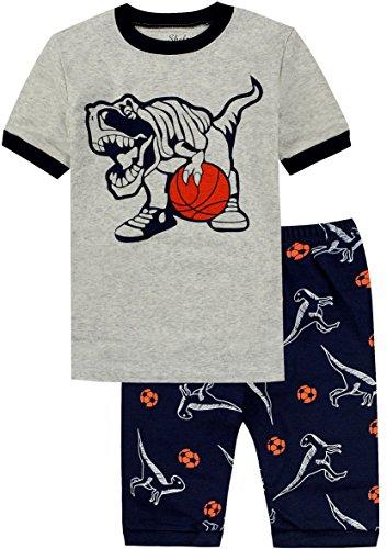 Basketball Boys Pajamas - shelry Pajamas Boys Cotton Dinosaur Short Sleeve Children 2 Piece Set Sleepwear