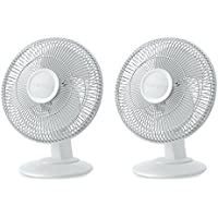 Lasko 12 Inch 3-Speed Ultra Quiet Oscillating Table Top Desk Fan, 2 Pack | 2012