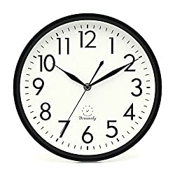 DreamSky 10 inches Silent Non-Ticking Quartz Wall Clock Decorative Indoor Kitchen Clock,3D Numbers Display,Battery Operated Wall Clocks