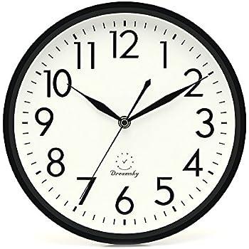 DreamSky 10 Inches Silent Non Ticking Quartz Wall Clock Decorative Indoor  Kitchen Clock,3D
