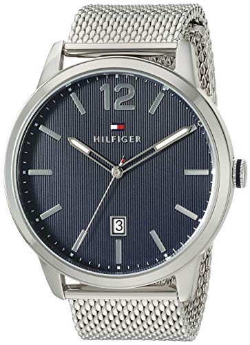 Tommy Hilfiger Men's Dustin Quartz Watch with Stainless Steel Strap, Silver, 22 (Model: 1791500