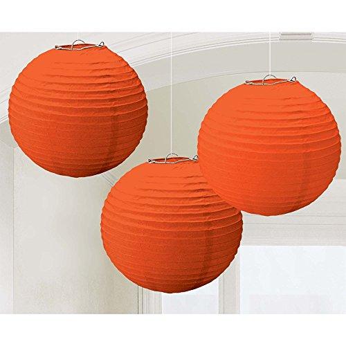 Round Paper Lanterns   Orange Peel   Pack of 3   Party Decor