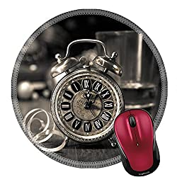 Liili Round Mouse Pad Natural Rubber Mousepad IMAGE ID 33511104 Composition with vintage clock showing five to midnight and an old phone Happy New Year 2015